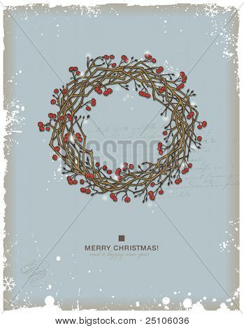 hand-drawn christmas wreath with red berries
