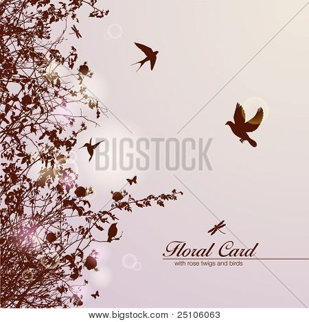 floral card with rose branches and birds