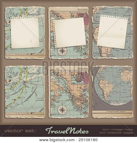 travel notes - grungy torn notebook pages on vintage maps
