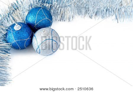 Three Christmas Baubles With Silver Tinsel