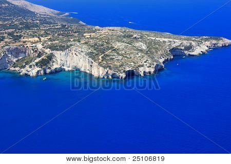 Luftbild auf Zakynthos Griechenland - blauen Höhlen