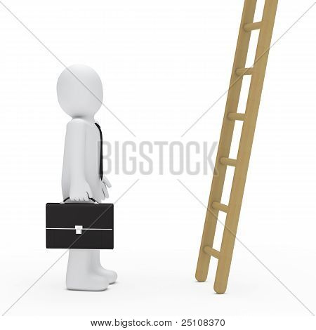 Business Man Briefcase Look Up Ladder