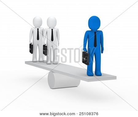 Business-Männer-Balance auf Wippe