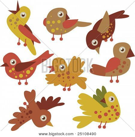 vector set of cartoon birds