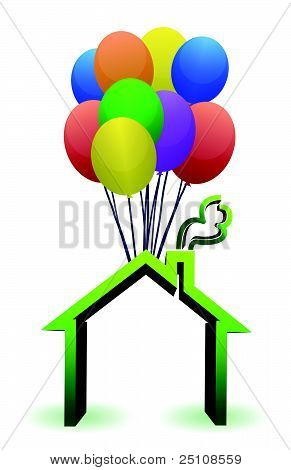 A house lifted by Balloons - illustration designs