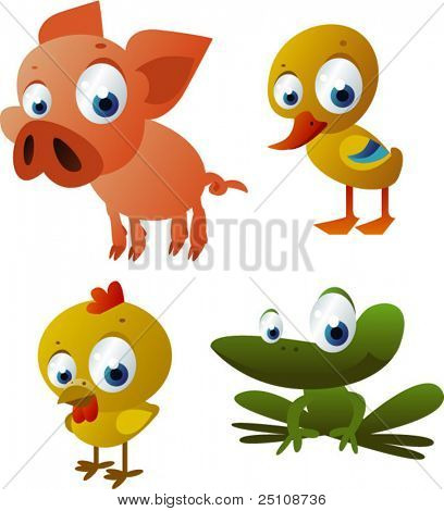 vector piglet, duck, chicken, frog