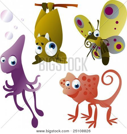 vector animals set 10: bat, butterfly, squid and lizard