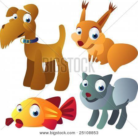 vector animal set 14: dogs, squirrel, fish