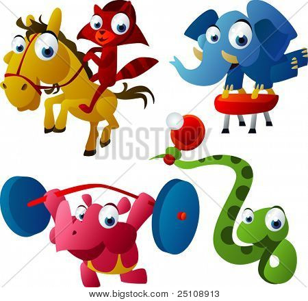 vector animal set 41: games set: raccoon, elephant, rhinoceros, snake