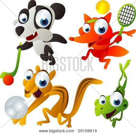 Vector Animal Set 45:: Panda, Fox, Chipmunk, Frog