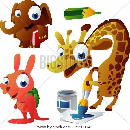 vector animal set 63: school: elephant, giraffe, kangaroo