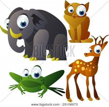 vector animal set 70: elephant, cat, frog, deer