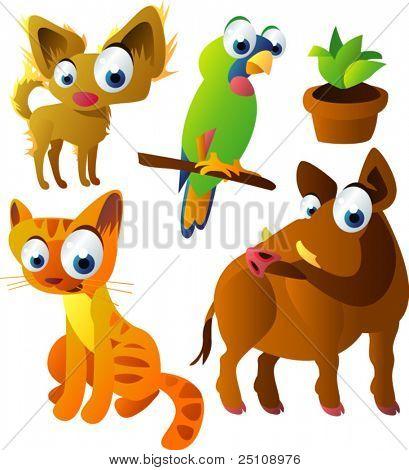 vector animal set 71: dog, parrot, cat, boar