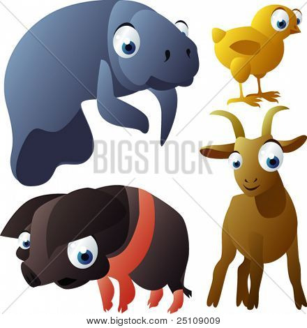 vector animal set 96: manatee, chicken, pig, goat