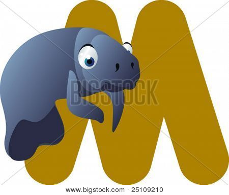 vector alphabet: M is for manatee