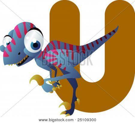 vector dino alphabet: U is for utahraptor