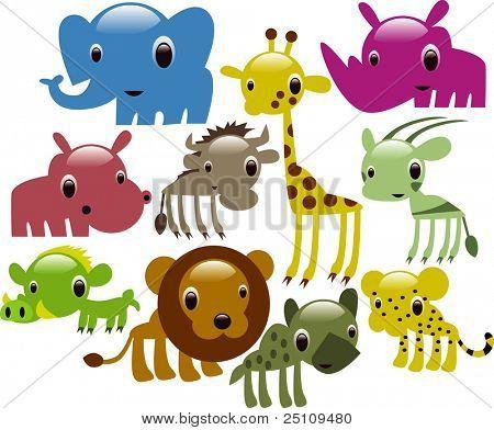 vector glossy african animals: elephant, giraffe, lion, rhino, hippo, antelope, warthog,hyena, cheetah, wildbeast