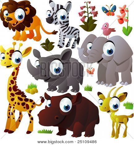 vector animal set: african animals