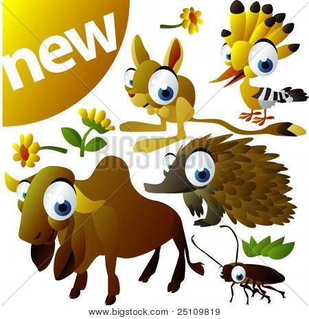 vector animal set 280: zebu, echidna, cockroach, hoopoe, jerboa