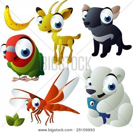2010 animal set: parrot, tasmanian devil, dragonfly, polar bear