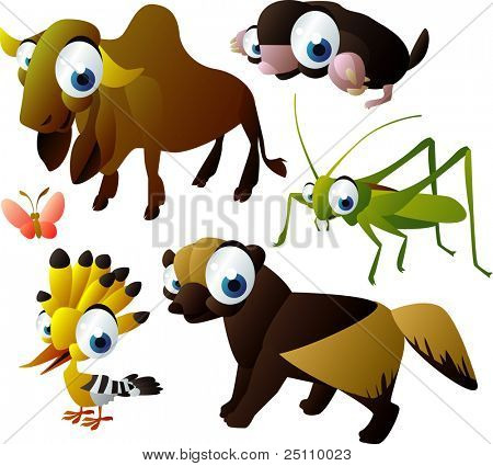 2010 animal set: zebu, mole, grasshopper, wolverine, hoopoe