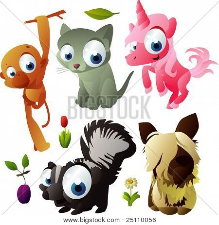 2010 animal set: monkey, kitten, unicorn, dog, skunk