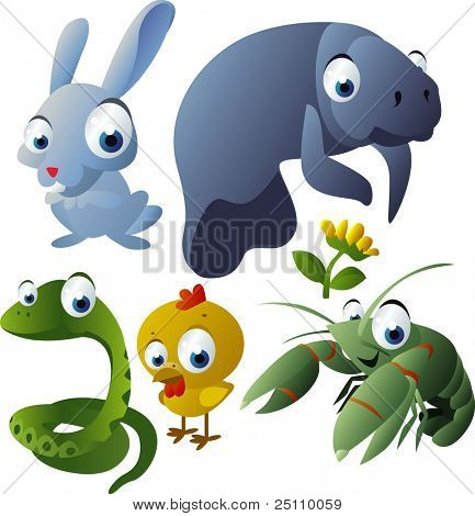 2010 animal set: rabbit, manatee, snake, chicken, cray fish
