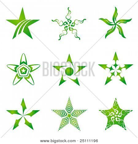 Set of decorative and creative five cornered/pentagonal stars