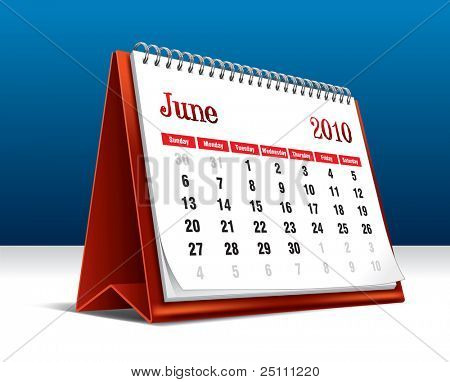 Vector illustration of a 2010 desk calendar showing the month June
