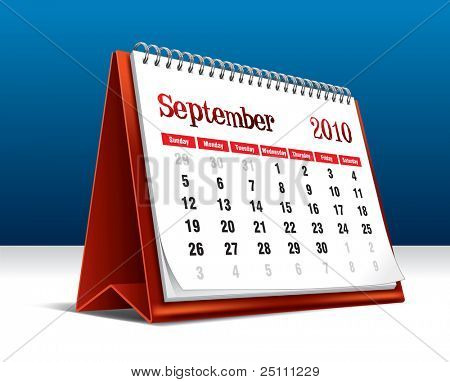 Vector illustration of a 2010 desk calendar showing the month September