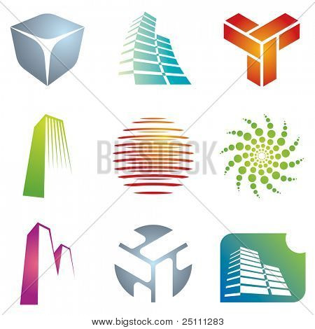 Various colorful architectural and construction icons for your  designs.