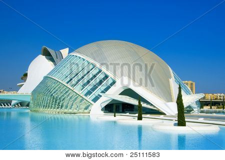 VALENCIA, SPAIN - MARCH 17: Hemisferic in The City of Arts and Sciences of Valencia on March 17, 2010 in Valencia, Spain. This futuristic building was designed by famous architect Santiago Calatrava