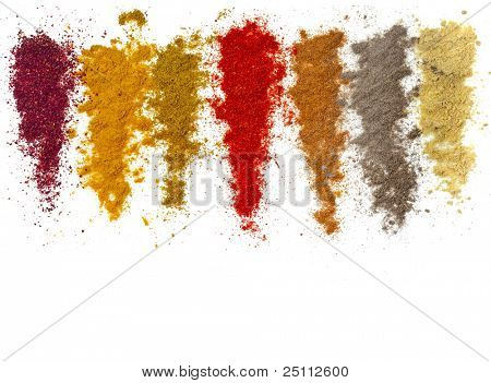 Assortment of powder spices isolated  on a white background