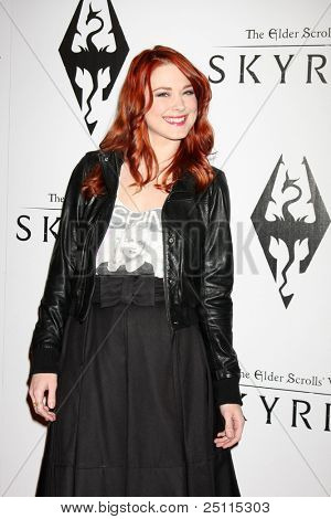 LOS ANGELES - NOV 8:  Alexandra Breckenridge arrives at the SKYRIM Launch Event at Belasco Theater on November 8, 2011 in Los Angeles, CA