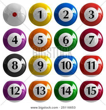 Set of color american billiard balls