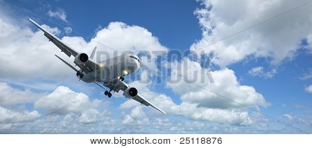 Jet Aircraft Is Maneuvering For Landing
