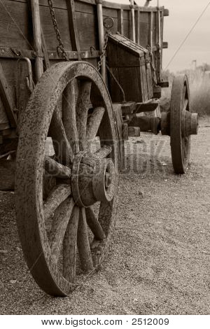 Wagon With Rain Sepia