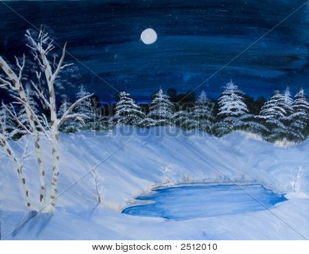 Winter Painting By Rebecca