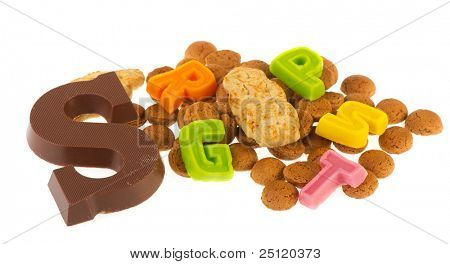 Dutch Sinterklaas chocolate letter and candy as pepernoten