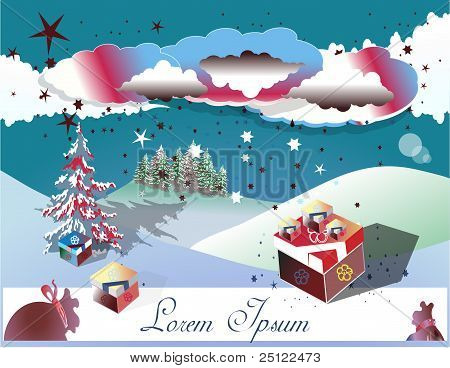 Christmas card with landscape