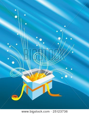 Vector Opened gift with shine blue background