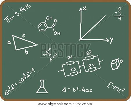 Illustration Set of school symbols on chalkboard