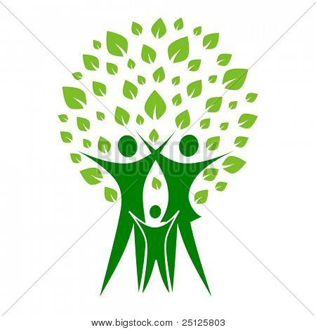 A pictographic image of a green family