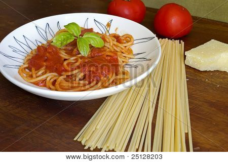 Spaghetti And Ingredients On A Table