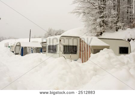 Caravans In A Camp Place At Winter