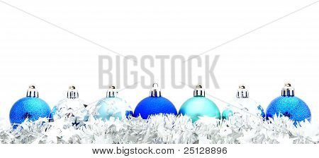 Blue Christmas Bauble Border