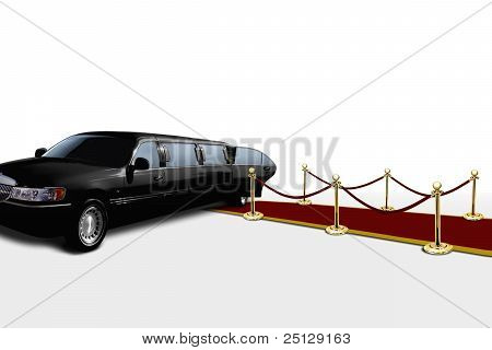 Limo And Red Carpet With Open Door
