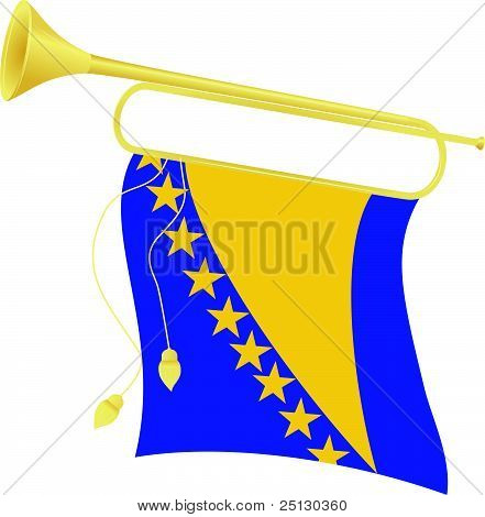 Vector Illustration Bugle With A Flag Bosnia And Herzegovina