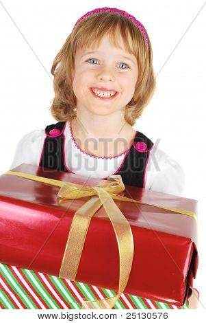Picture Of Happy Little Girl With Gift Christmas Box Happy And Smile. Isolated On The White Backgrou