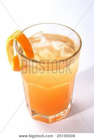 A glass of fresh mandarin drink